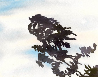 """An Occurrence Some Distance in Front of Them, 7 x 10 1/4"""" original watercolor painting"""