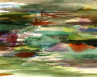 "The... Waking World Makes Absolute, Perfect Sense, 7 x 10 1/4"" original watercolor painting"