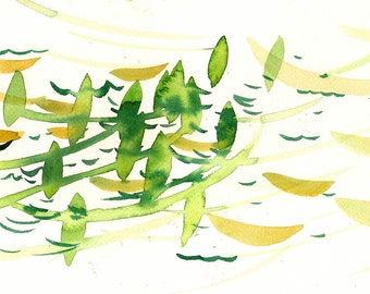 """Moving Quietly, 7 x 10 1/4"""" original watercolor painting"""