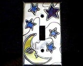 MOON AND STARS BLUE SILVER METAL SINGLE SWITCHPLATE