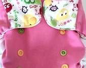 Pink and Lime Ooga Booga One Size Pocket Diaper