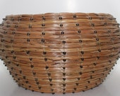 Black Beaded Woven Pine Needle Basket