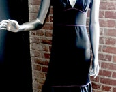 1980s does 1940s Black Satin Flutter Sleeve Dress w/ Open Back Bias Small