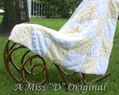 Vintage Chenille Shabby Chic Throw or Bedspread Lemon Yellow and White