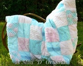 Quilt Throw Shabby Chic Patchwork Vintage Chenille Aqua and Pink