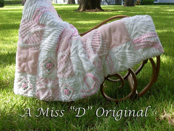 Vintage Chenille Shabby Chic Crochet Rose Throw Bedspread Pink Delight