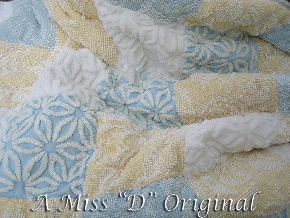 Quilt Vintage Chenille Robins Egg Blue Chic Throw
