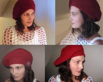 Instant Download EaSY Crochet Pattern Lots of Looks 1 Hat Beret Tam Cap Slouch