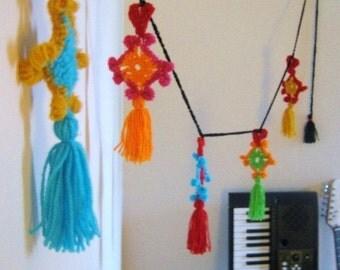 Instant Download Gypsy Heart Tassel Garland Crochet Pattern Unique Boho Kitschy Funky Cool