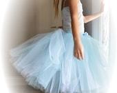 Light Blue Long Princess Tutu or Halter Style Tutu Dress...Pale Blue Flower Girl Tutu, Photo Prop...Toddler and Girls Sizes . . .ENCHANTED