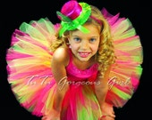 Hot Pink and Lime Green Birthday Tutu...Bright Vibrant and Fun Tutu for Baby, Toddler, Girls, Adult Women. . . ATOMIC LIME & FUCHSIA