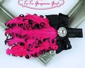 Fuchsia & Black Layered Curly Feather Headpiece...Headband...Newborn, Infant, Toddler, Girls, Adult Sizes