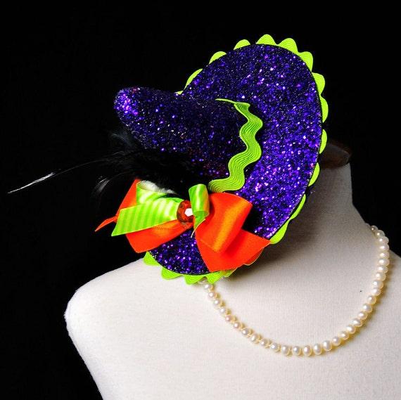 Purple Glitter Halloween Mini Witch Hat...Witch Costume Hat, Headpiece, Fascinator...Halloween Photo Prop, Dance Prop . . . BEWITCHING