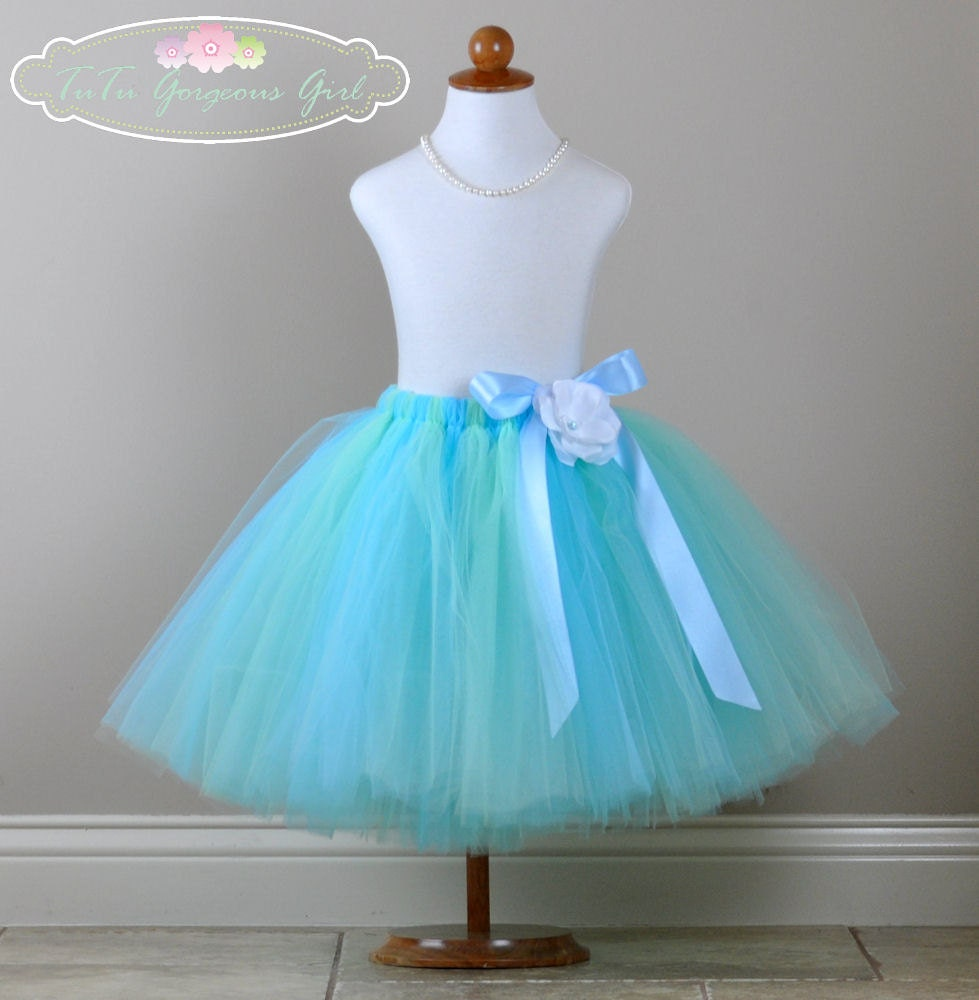 light blue mint flower tutu skirt or dress