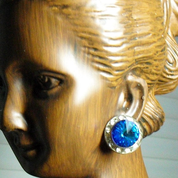 Vintage Sapphire Blue and Clear Crystal Button Earrings