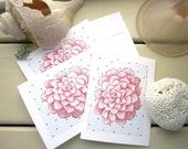Freckled Rose Stationery, Pink Spotted Petals Flower Art Cards, Greeting Card Set, Thank you Cards, 4x5 printed art note cards