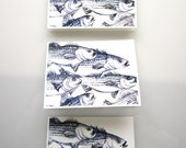 Striped Bass Fathers Day Card - Fish Ink Drawing Printed Cards - Greeting Cards 4x5 printed art note cards - Stationery Set