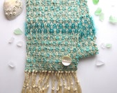 Mint Green Scarf- Turquoise Scarf - Handwoven Scarf- Ocean Inspired - Mohair,  Silk Rayon - Lightweight Scarf - Winter Scarf