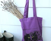 Purple Kitty tote- Black Cat reusable lightweight cotton canvas tote- screen printed