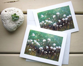 """Flower Stationery - Queen Annes Lace - Emerald Green - Flower Art Prints of Landscape Painting """"Summers Hush"""" - Stationery Set"""