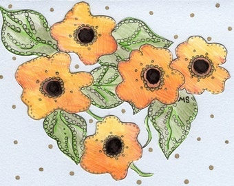 Black Eyed Susan Hand Drawn Flower Card - Pen and Ink Drawing - Paper Cut Out Metallic Card - Spring Summer Wedding Shower Card