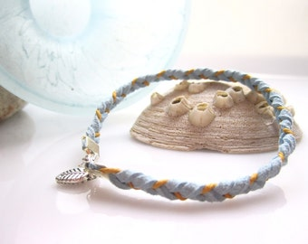 Braided Bracelet Suede Leather Hemp in Ice Blue and Yellow with Leaf Charm