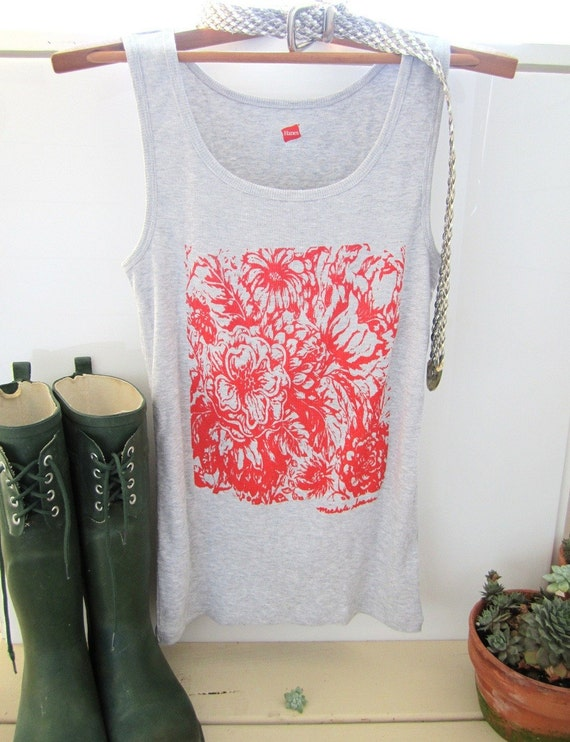 Orange Floral Print Tank Top, Women Tshirt with Flower Print, Screen Print  Art Shirt