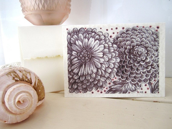Parchment Paper Romantic Floral Printed Card , Flower Card, Mini Mums Drawing, Wedding card