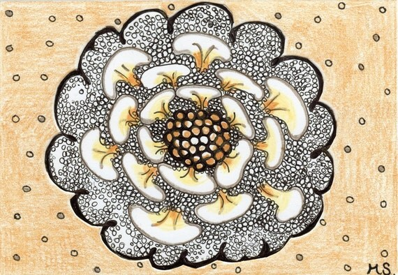 Abstract Flower Hand Drawn Card - Yellow Black, Original Drawing Ink - Golden Freckled Flower - Black Polka Dot Card