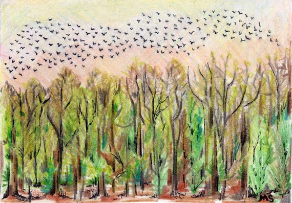 Morning Commute- Sunrise- Birds in Flight- Pale Peach Yellow- Migration-Original Drawing 3.5 x 5