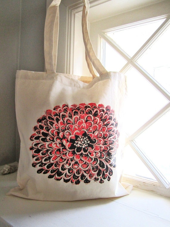 Flower Tote Bag Screenprint Tote Floral Tote Red and