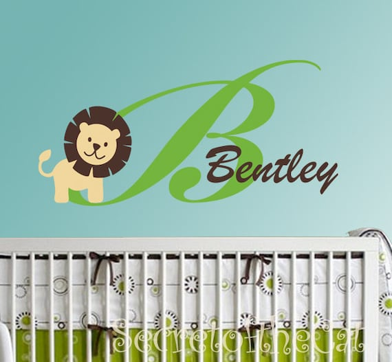 Vinyl Decal - Lion Custom Name - wall decals nursery - baby wall decals- name decals - baby name - monogram