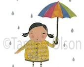 "Mixed media collage girl, umbrella, rain,  newspaper, 8 x 10 limited edition print 1/250, ""Rainy Day"""