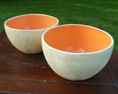Pair of tall Cantaloupe Bowls