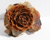 Autumn accessories - Fall Fashion brooch - Plaid