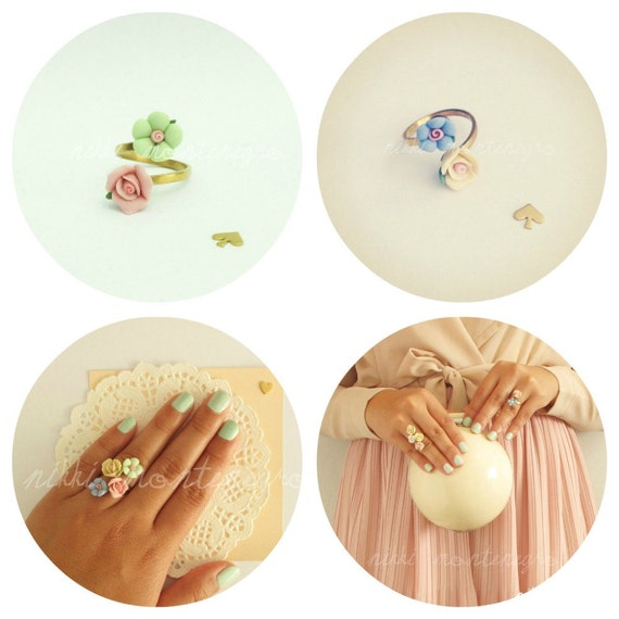 Stackable Flower Rings - Rainbow Palette