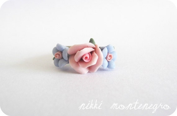 Flower Crown Ring - Periwinkle and Rose Pink