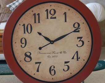 24 inch Large Wall Clock Tuscan Antique Style Gallery Round Personalized Big Red Framed