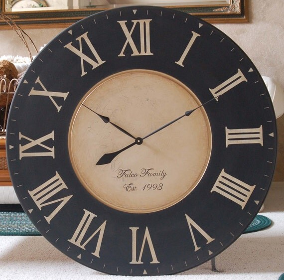 Large 36 Inch Wall Clock Framed Antique Style Tuscan Black