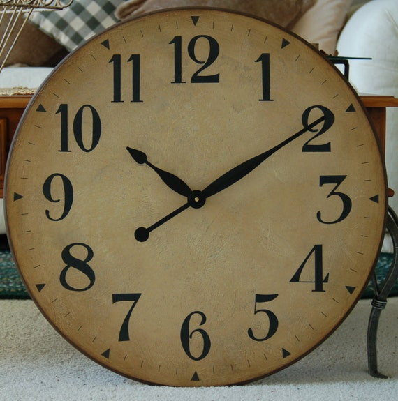 24 Inch Large Wall Clock Antique Rustic Tuscan By Bigclockshop