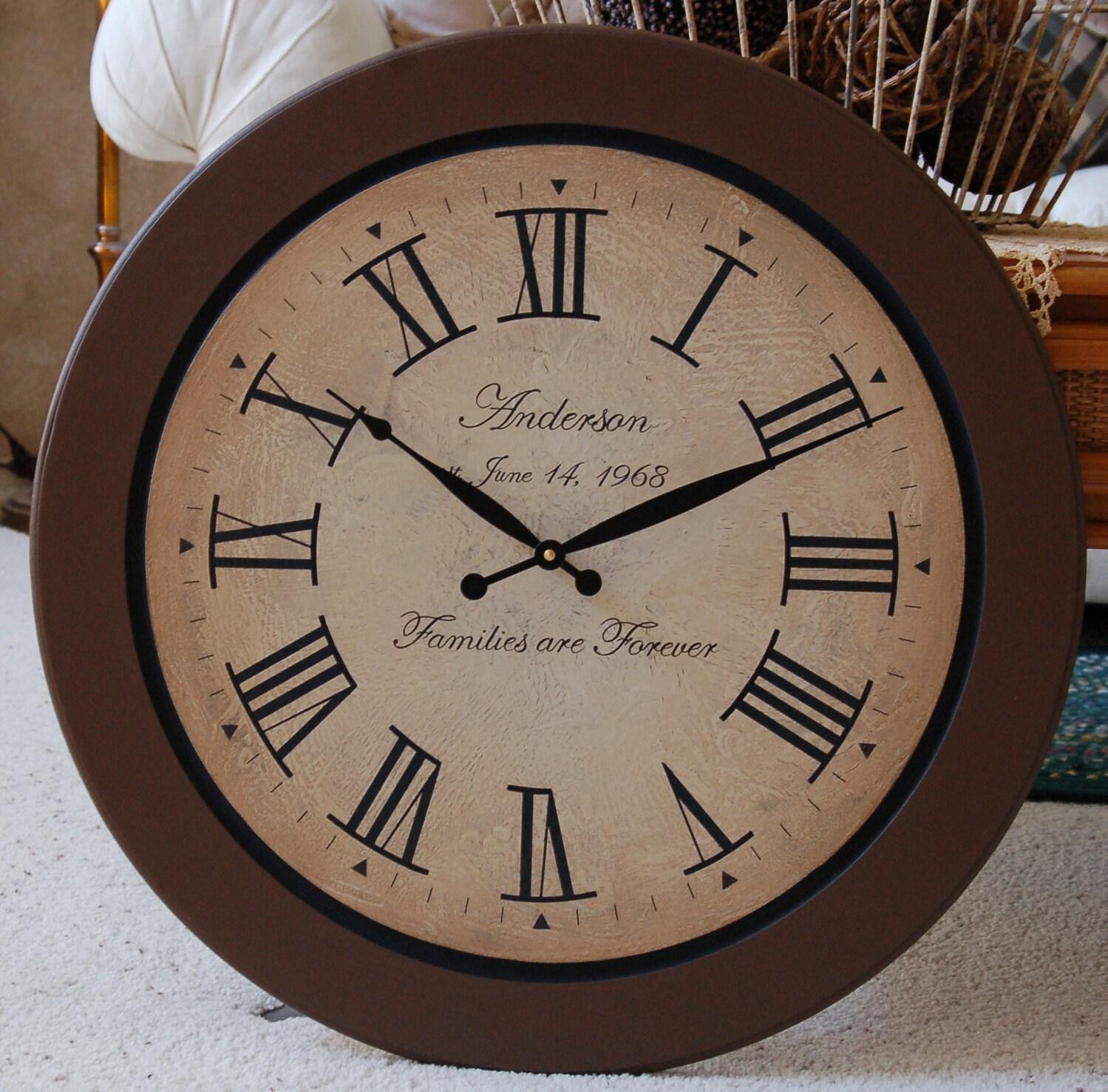 24 Inch Large Wall Clock Roman Tuscan Antique By BigClockShop