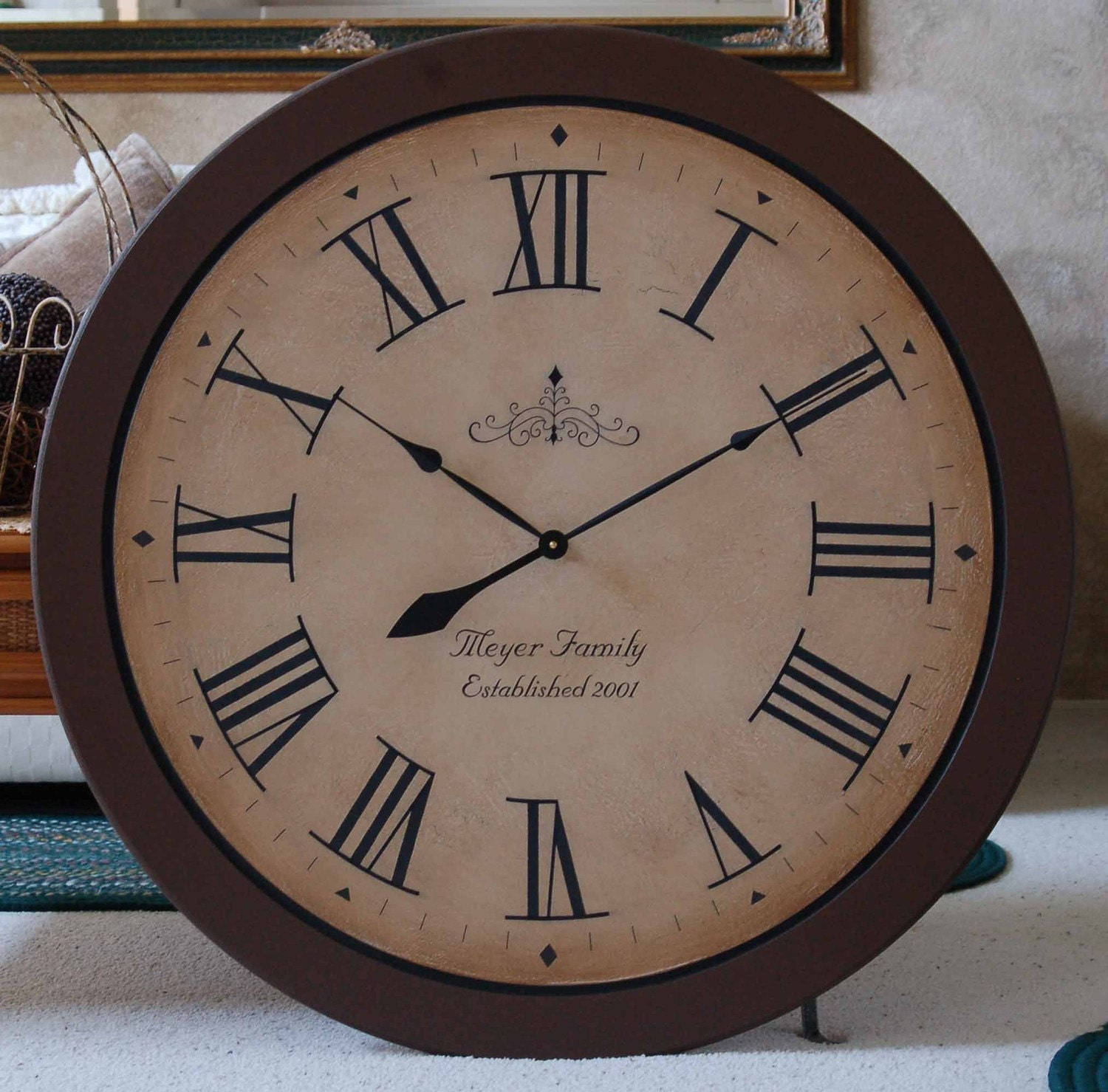 large wall clock 36 diameter framed antique style tuscan