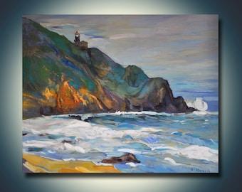 The shore--Seascape Oil Painting On Canvas 28x24 Landscape Painting Original Art Impressionistic Oil By Ivailo Nikolov