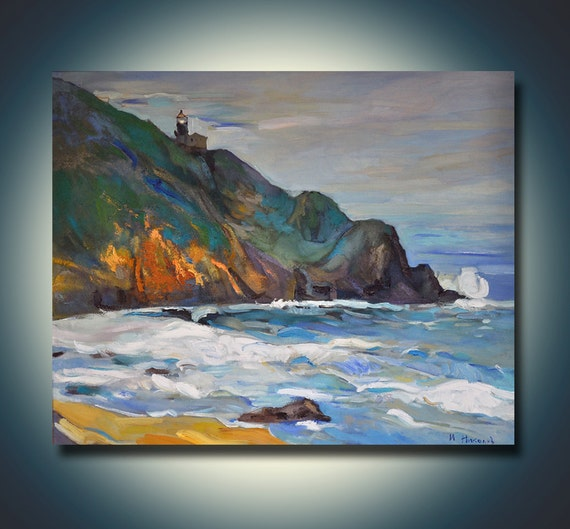 The shore--Seascape Oil Painting On Canvas 28x24 Landscape Painting Original Art Impressionistic Oil By Ivailo Nikolov