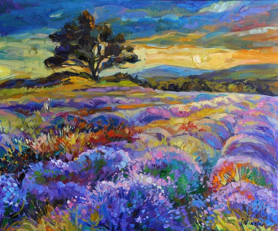 Lavender 24x20 inch original oil painting by Nikolov