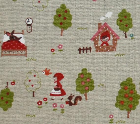 Little Red Riding Hood Cotton Linen Blend Fabric - 1 Yard Red