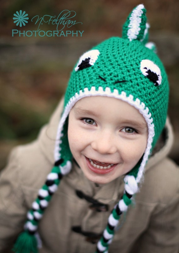 Crochet Baby Dinosaur Beanie Pattern : Items similar to Crochet Dinosaur earflap beanie hat in ...