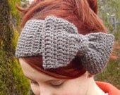 Crochet boho bow headband headwrap earwarmer grey - Adult size