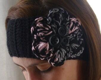 Crochet boho winter headband ear warmer headwrap - Adult size - black pink and gray