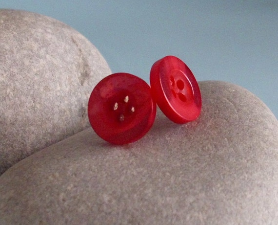 Cute Boho Button Earrings - silver plate stud post - pink red